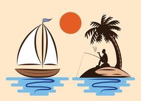 um homem está pescando e fumando confortavelmente em uma ilha no meio do mar que tem coqueiros e um veleiro flutuando ao lado vetor
