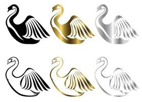 conjunto de seis imagens vetoriais de vários símbolos de cisne, existem três cores preto ouro prata bom uso para símbolo mascote ícone avatar e logotipo vetor