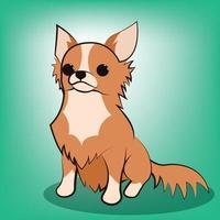 Ilustração em vetor bonito dos desenhos animados de um cachorro chihuahua