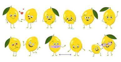 conjunto de personagens fofinhos de limão com emoções, rostos, braços e pernas. heróis felizes ou tristes, frutas cítricas brincam, se apaixonam, mantêm distância com uma máscara, um sorriso ou lágrimas. ilustração em vetor plana