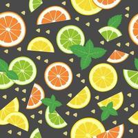 limão, tangerina, fatias de limão, folhas de hortelã, fatias de gengibre. sem costura padrão brilhante sobre um fundo branco. um conjunto de frutas cítricas para um estilo de vida saudável. ilustração em vetor plana de alimentos úteis