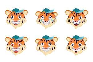 um conjunto de tigre com emoções diferentes. símbolo alegre, triste ou zangado do ano. animais selvagens da África. ilustração de desenho vetorial vetor