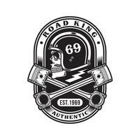 caveira de motociclista com camiseta gráfica de pistões cruzados vetor