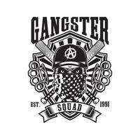 crânio de gangster com tacos de beisebol cruzados e emblema de soqueiras vetor
