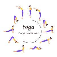 Surya namaskar ilustração vetorial conjunto de sequência de asanas de ioga saudação ao sol vetor