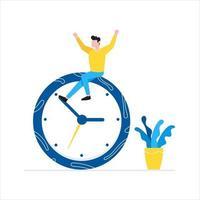 homens adultos sentados no relógio e segurando a seta do tempo com o conceito de gerenciamento de tempo vetor
