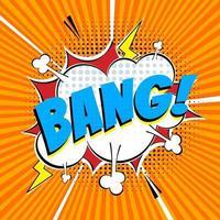 letras de quadrinhos balão de fala para emoção com texto bang estilo cômico design plano dinâmico pop art ilustração vetor