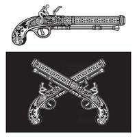 pistola de pederneira ornamental antiga vetor