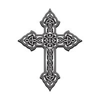 cruz ornamental em preto e branco vetor