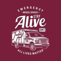 camiseta gráfica de van ambulância vetor