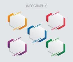 modelo de vetor infográfico hexágono colorido com 5 opções