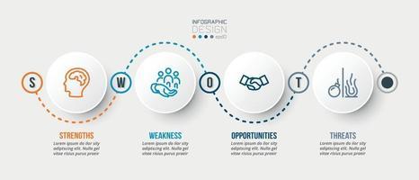 modelo de infográfico de marketing ou negócios de análise swot vetor