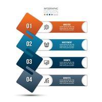 Modelo de infográfico de fluxo de trabalho de processo de 4 etapas vetor