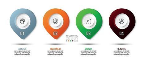 infográfico modelo de negócios com 4 etapas ou opções de design vetor