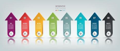 infográfico modelo de negócios com design de 8 etapas ou opções vetor