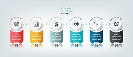 infográfico modelo de negócios com 6 etapas ou opções de design vetor