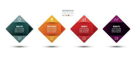 infográfico modelo de negócios com 4 etapas ou opções desig vetor