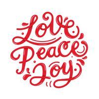 Paz amor alegria Lettering tipografia vetor