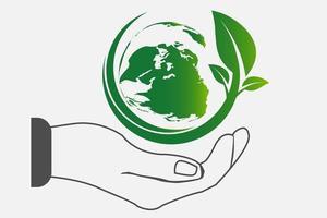 o mundo em suas mãos, as cidades verdes do conceito de ecologia ajudam o mundo com uma ideia de conceito ecologicamente amigável com fundo de globo e árvore vetor