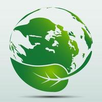 conceito de terra verde com folhas ecologia natureza vetor