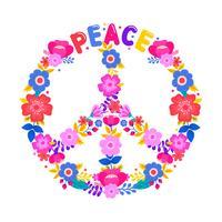 Símbolo de paz com flor vetor