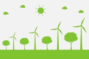 turbinas eólicas com árvores e energia limpa do sol com ideias de conceito ecologicamente corretas vetor