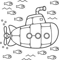 página para colorir submarino infantil vetor