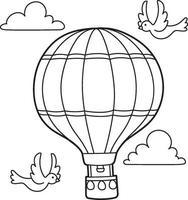 página para colorir infantil de balão de ar quente vetor