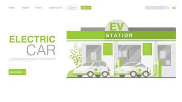 carro ev ou carro elétrico na estação de carregamento vetor