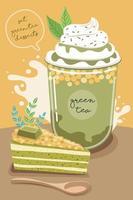conjunto de deliciosos doces e sobremesas com sabor a chá verde vetor