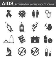 conjunto de ícones de aids vetor
