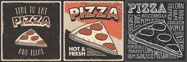 ilustração retro vintage desenhada à mão de pizza adequada para decoração de parede de pôster de madeira ou sinalização vetor