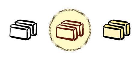 contorno e cor e símbolos retrô de manteiga vetor
