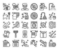 ícones de vetor de contorno de higiene