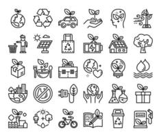ícones de vetor de contorno de ecologia