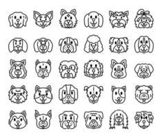 raças de cães delinear ícones vetoriais vetor