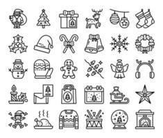 ícones de vetor de contorno de feliz natal