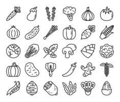 ícones vetoriais de contorno vegetal vetor