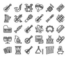 ícones de vetor de contorno de instrumento musical