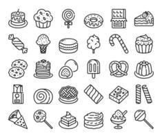 ícones do vetor de contorno de doces e sobremesas