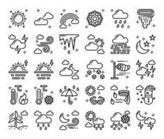 ícones do vetor de contorno do tempo