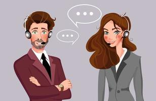 ícones de avatar de call center masculino e feminino com homem e mulher usando fones de ouvido com balões de fala conceituais de atendimento ao cliente e ilustração vetorial de comunicação vetor