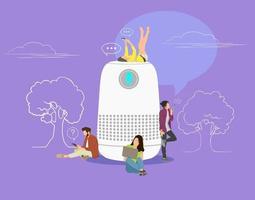 alto-falante inteligente com ilustração em vetor conceito de assistente virtual de pessoas em pé perto do símbolo de alto-falante usando smartphone e tablet grupo plano de mulheres e homens com balões de fala no fundo