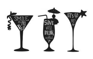 conjunto de frases de vetor de coquetéis em letras de silhueta de coquetel preto para design de cartões de cartazes