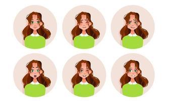 conjunto de emoções de mulher, expressão facial, menina, ilustração vetorial avatar vetor