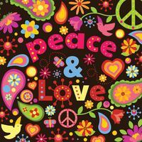 Design de vetor de paz e amor