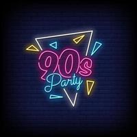 Vetor de texto de estilo de sinais de néon de festa dos anos 90