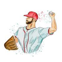 Jogador de baseball vetor