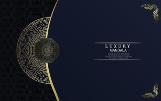 Fundo de padrão de mandala de luxo com vetor livre de arabescos dourados