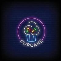 vetor de texto de estilo de sinais de néon de logotipo de cupcake